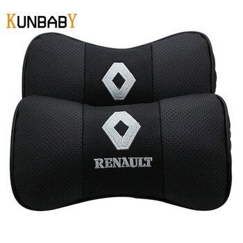 KUNBABY 1 Pair Xe Styling Da Xe Cổ Gối Head 3D Tựa Đầu xe Gối Cushion Cover Đối Với Renault Duster Megane 2 3