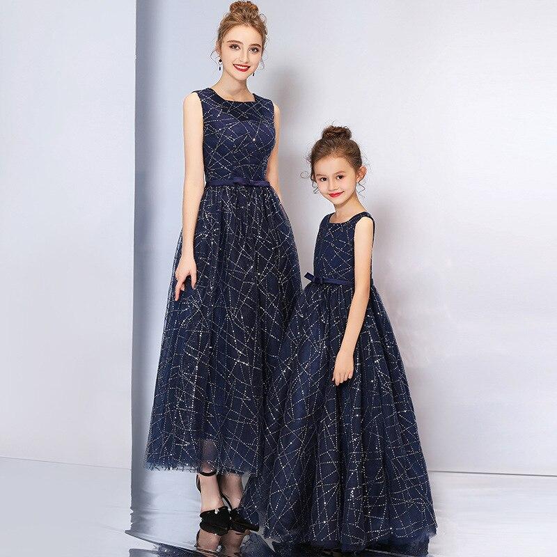 Mère fille robes enfants correspondant famille tenues maman et moi vêtements maman filles princesse robe fille fête robe 100-175