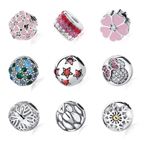 100% S925 Sterling Silver Bead Flower Star Austria Crystal Safety Clip Stopper Charms Fit Pandora Bracelets Bangles DIY Jewelry