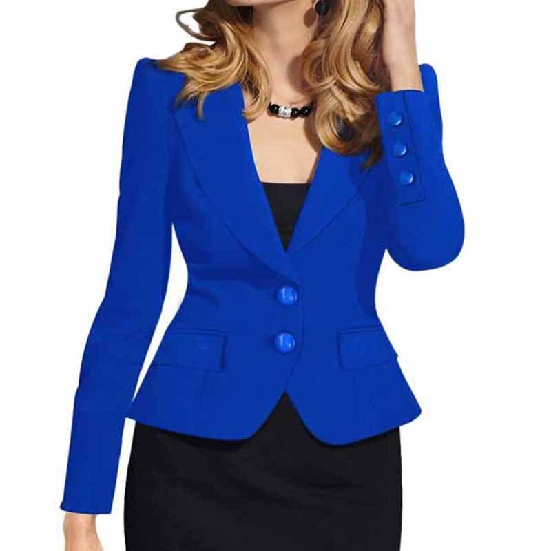 2018 Slim Donna Autunno Inverno A Maniche Lunghe Due Button Blazer Cappotti Casual Work Ol Jacket Outwear Tops Femme Abiti Wdc457 Elegante Nell'Odore