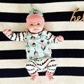 Ropa de otoño infantiles 3 UNIDS Set Baby Girl Ropa de Plumas de Algodón Tops camiseta + Pantalones de Niño Trajes Set