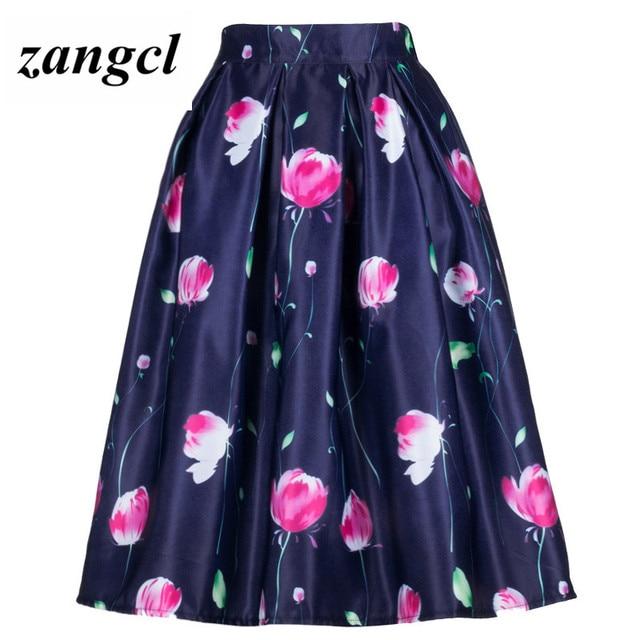1ae0d4e5b9a1 Zangcl 2017 High Street Floral Printed Pattern Pleated Skirts New Elastic  High Waist Party Ladies Midi Skirt Saias