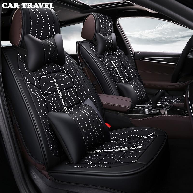 CAR TRAVEL flax Universal Car Seat Cover for Cadillac all models CTS ATS SRX CT6 ATSL XTS SLS car styling auto accessories