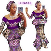 2018 African Dashiki Two Pieces Set Women Half Sleeve Crop Tops & Long Skirt Sets African Women Mermaid Maxi Clothing 6XL WY2838