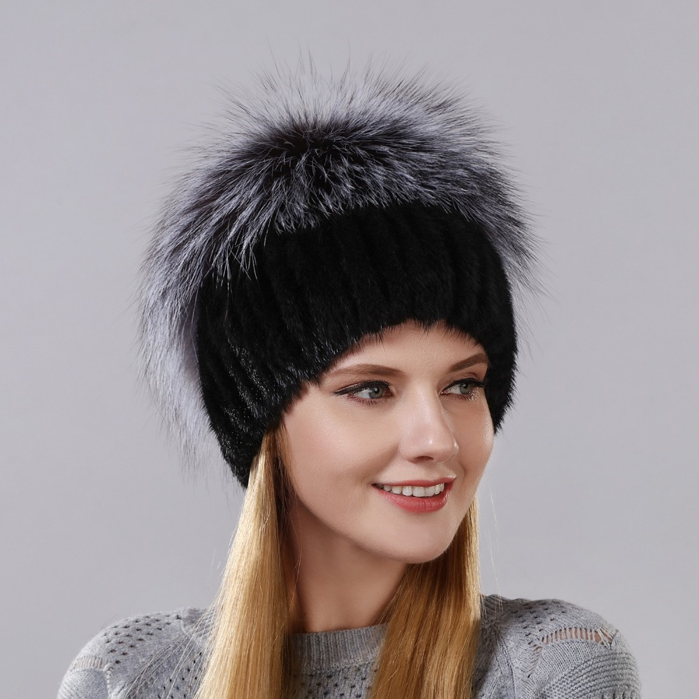 Winter Warm Cap Rabbit Fur Flower With Fox Fur On The Top New Style Natural Imported