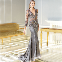 Luxury Crystals Long Sleeve Prom 2018 Beading Deep V neck Long Mermaid Evening Wear Sweep Train mother of the bride dress