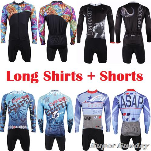 Paladin New Design Men's Team Cycling Jerseys Long Sleeve Shirt with Summer Shorts Cycling Clothings Gel Pad Free Shipping live team cycling jerseys suit a001