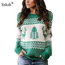 37425ec26388d1 Szkzk Christmas Women Sweater Warm Knitted Pullover Autumn Streetwear Long  Sleeve Winter Fashion Green Grey Loose Jumper Female