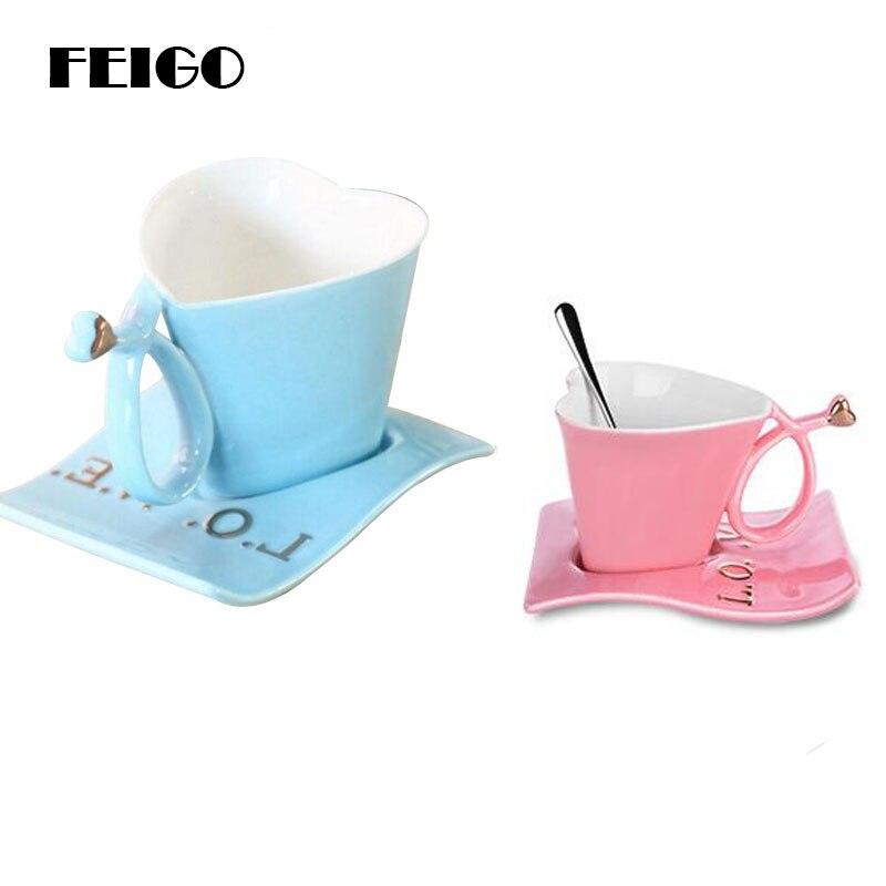 FEIGO Cute 200ml Heart Shape Mug Ceramic Coffee Cups Set Coffee Cup Saucer Loves Tea Cup Set For Couple Mugs Fashion Gift F374