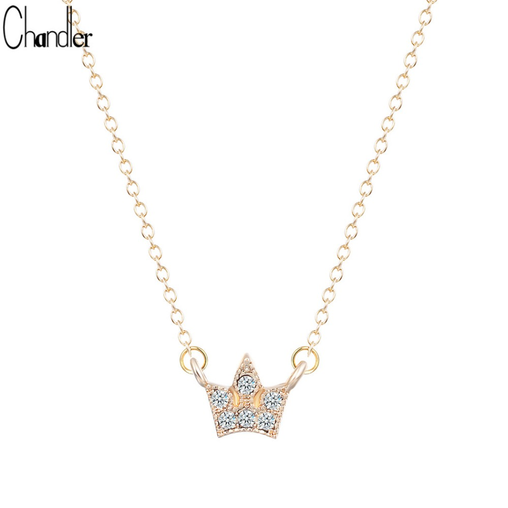Noble crown crystal pendant Womens Cute white gold filled long chain necklace