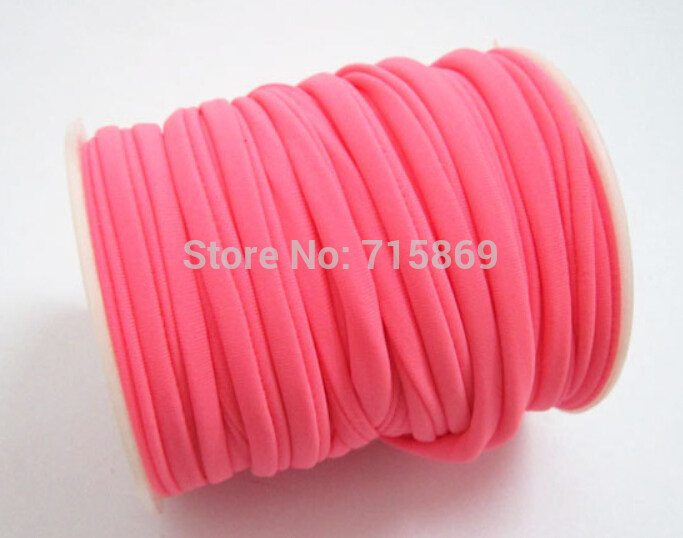 Free Ship 5mm 20meter / Row Hot Pink Elastic Lycra Cord Stitched Round Lycra Cord Lycra Strip For Jewelry Marking