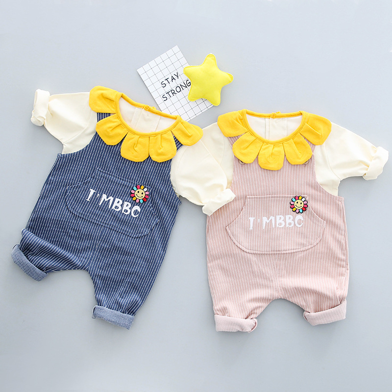 Korea style baby girls clothing sets 2018 spring new Petal colar tee shirts suspender trousers 2 pcs suits for 0-4 years Todder
