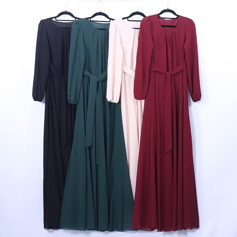 Abayas para as Mulheres Chiffon Hijab Muçulmano Abaya Dubai Vestido Kaftan Vestuário Islâmico Jilbab Turco Caftan Vestidos Femme Musulman