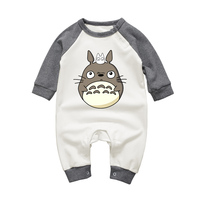 Long Sleeve Toddler Clothes Baby Girls Boys Jumpsuits Cartoon Totoro O Neck Cotton Newborn Rompers Long