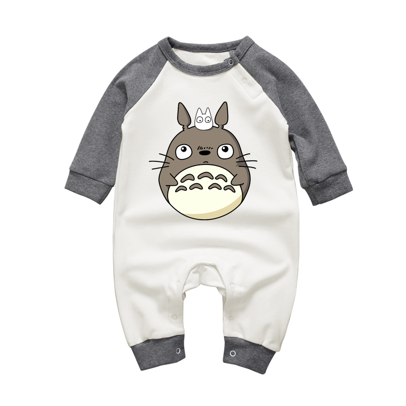 Long Sleeve Toddler Clothes Baby Girls Boys Jumpsuits Cartoon Totoro O-neck Cotton Newborn Rompers Long Sleeve Infant One-pieces baby rompers o neck 100