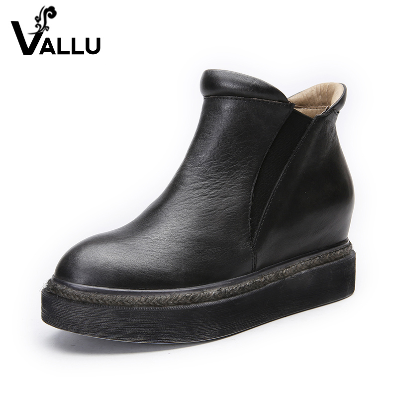Ankle Boots Shoes Woman 2017 New Arrival Height Increasing Women Shoes Genuine Leather Vintage Flat Platform Short Shoes 2017 women warm boots genuine leather height increasing cut out flat platform short plush women ankle boots