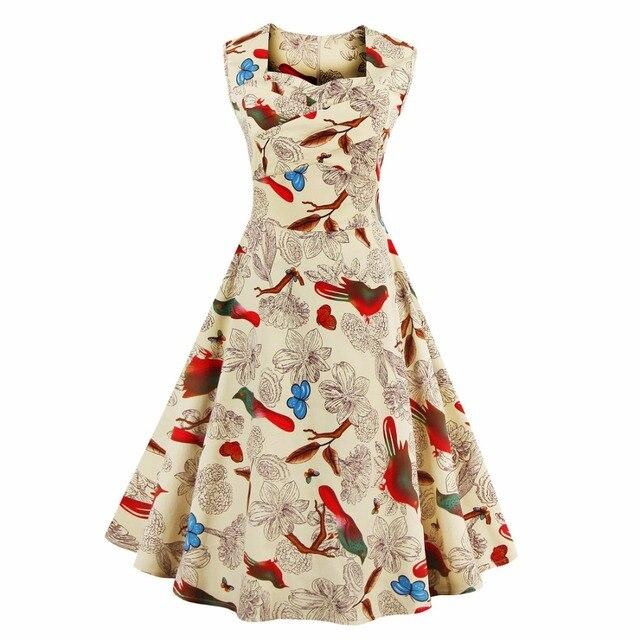 17583dd7e2cb8 Kenancy L- 4XL Women Dress Retro Vintage 1950s 60s Rockabilly Floral Swing  Summer Dresses Elegant