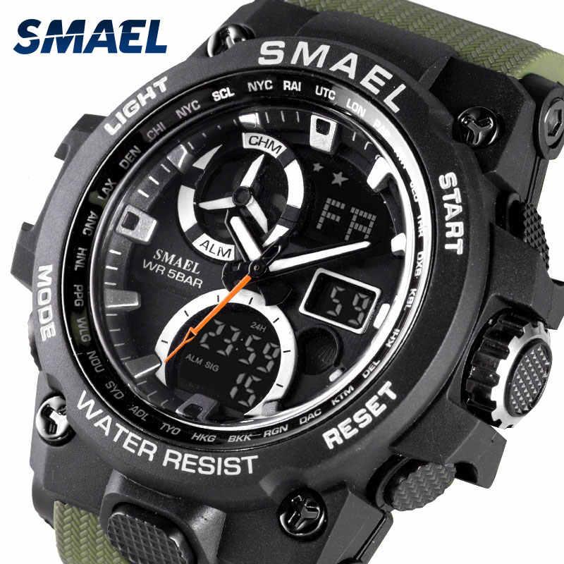 ספורט שעון גברים SMAEL מותג צעצוע Mens שעונים צבאי צבא S הלם 50m עמיד למים שעוני יד 8011 אופנה גברים שעונים ספורט