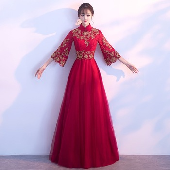 Burgundy Embroidery Oriental Style Dresses Chinese Bride Vintage Traditional Wedding Cheongsam Dress Long Qipao Plus Size XS-3XL