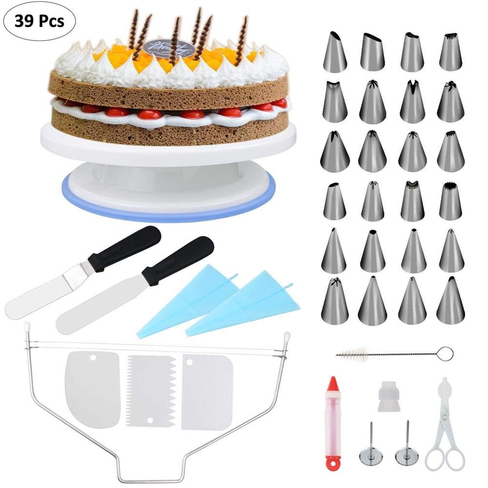 Fixget 39 pièces 11''Cake Support Tournant Plateau Tournant de Décoration de Gâteau Gâteau Stand avec 3 pièces Peigne à Décor/Glaçage Lisse 2 pièces Givrage