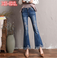 2018 Spring Autumn Plus Size 7XL 8XL Embroidery Flare Jeans Women Thin Wide Leg Jeans Female