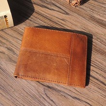 DALFR Genuine Leather Mens Wallets Card Holder Male Short Wallet 6 Inch Cowhide Vintage Style Coin Purse Small Wallet