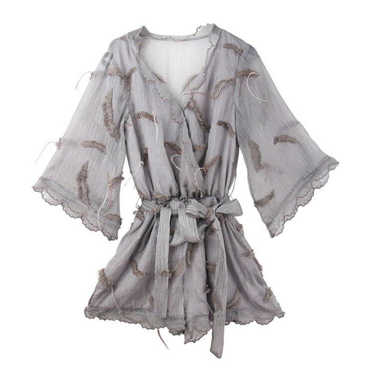 MOBTRS Gray Jumpsuit For Women Feather Embroidery Jumpsuit Elegant Woman Short Pants Romper Jumpsuit