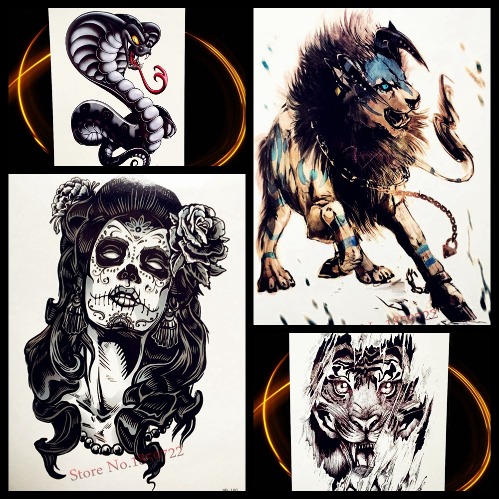 hot waterproof temporary tattoo lion designs 21x15cm cobra snake fake flash transfer tattoo. Black Bedroom Furniture Sets. Home Design Ideas
