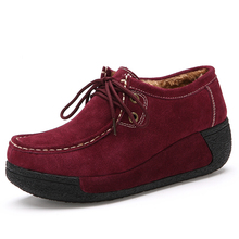 2016 Lady shoes high quality suede women's casual platform wedges shoes warm plush lining