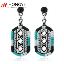 Fashion Bohemia Blue Color Beads Earrings Brincos Ethnic Charms Square Drop Earrings For Women Jewelry Wholesale