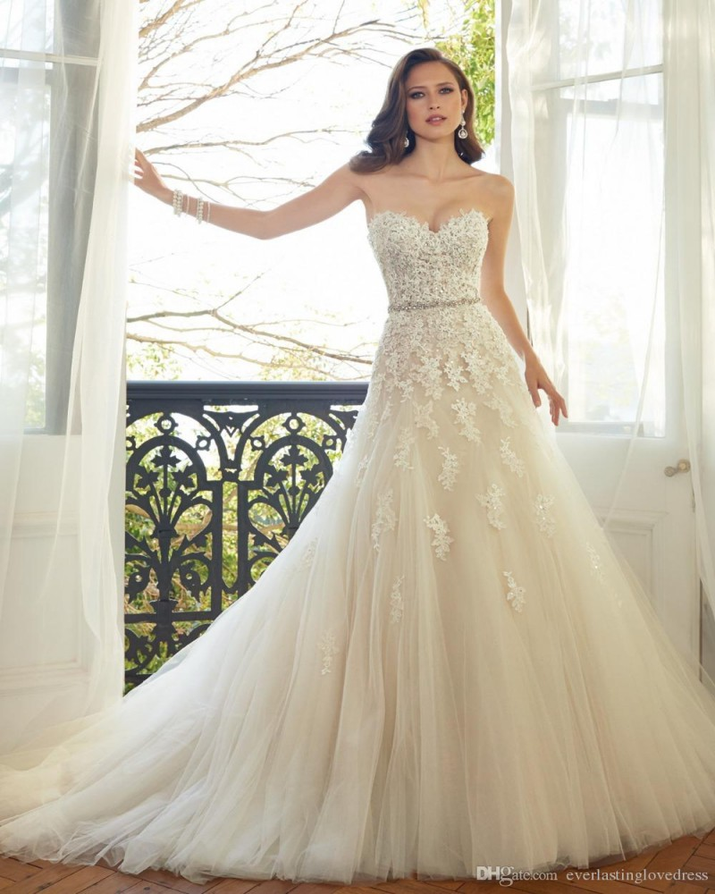 Luxury Sweetheart Lace A Line font b Wedding b font font b Dress b font Off