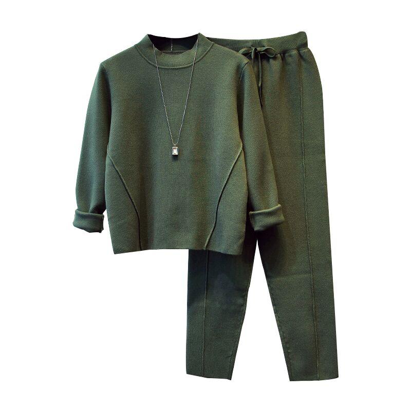 가을 새로운 스타일 영국 스타일의 간단한 느슨한 니트 스웨터 여성 hallen 피트 바지 여성의 두 세트-에서여성 세트부터 여성 의류 의  그룹 1