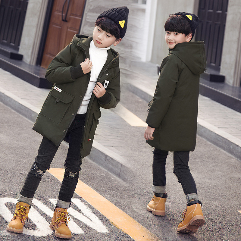 Handsome Boys Down Coats Long Anti-Cold Jacket Hooded Kids Outerwears Downproof Baby Winter Clothes 2018 New,3 Colors 120-170cmHandsome Boys Down Coats Long Anti-Cold Jacket Hooded Kids Outerwears Downproof Baby Winter Clothes 2018 New,3 Colors 120-170cm