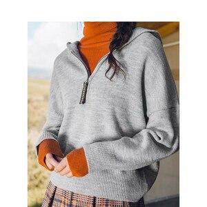 Image 4 - INMAN hiver nouveauté femme col haut coupe taille élégante femmes pull pull