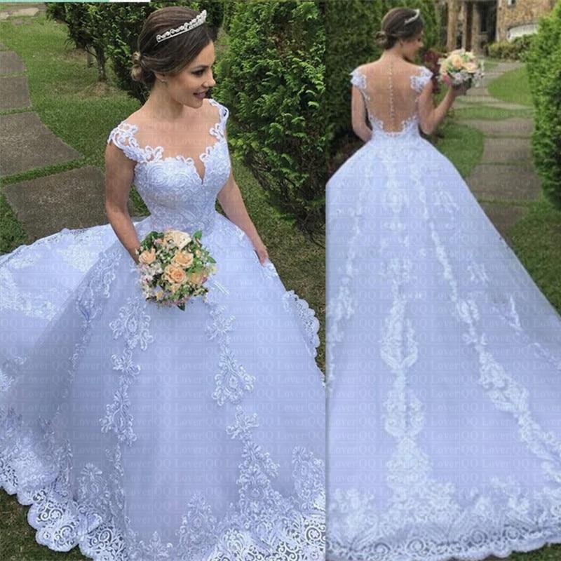 Pas cher Illusion Vestido De Noiva o-cou Robe De bal princesse Robe De mariée Appliques luxe Robe De mariée Sexy dos Robe De Mariee