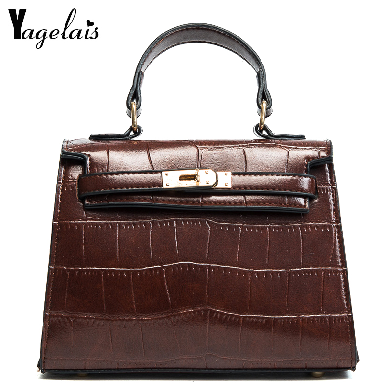 2018 New Leather Women Handbag Vintage Alligator Messenger Bag Fashion Lock Female Shoulder Bags Box Stlye Small Crossbody Bag 100% genuine leather women bags luxury serpentine real leather women handbag new fashion messenger shoulder bag female totes 3