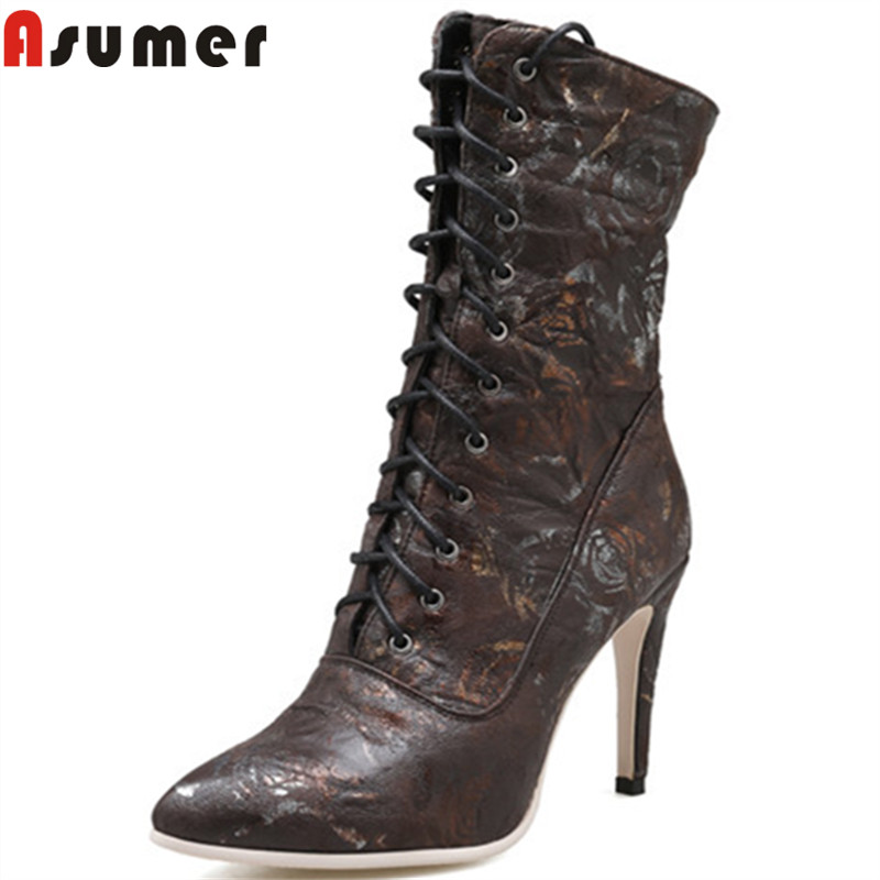 ASUMER big size 35-43 2018 fashion autumn winter new shoes woman pointed thin high heels mid calf boots women prom ladies boots mary yanxi new fashion high heels women boots lace up pointed toe shoes mid calf worm boots thin heels elegant shoes big size43