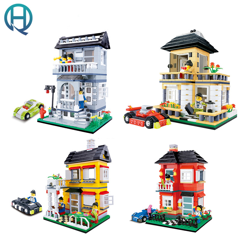 Wange City Series Small Villa Garden DIY Model Building Blocks Bricks Sets Educational Birthday Gift Toys for Children Kids wange city fire emergency truck action model building block sets bricks 567pcs classic educational toys gifts for children