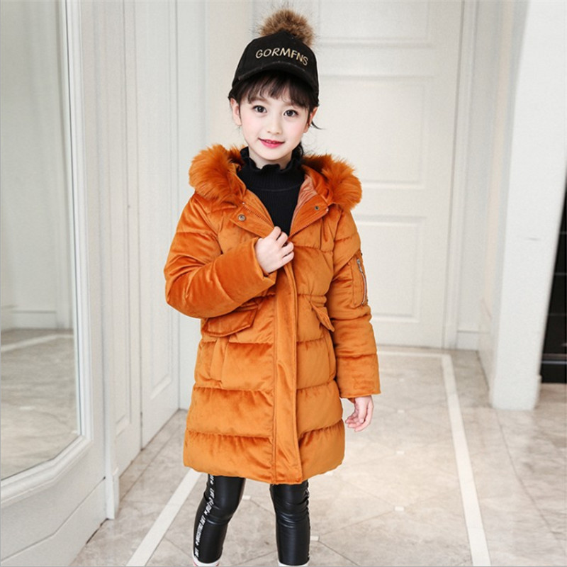 2017 Winter Girls Corduroy Coat Parkas Cotton Jackets Fashion Hooded Cartton Wadded Jacket 120-160 High Quality linenall women parkas loose medium long slanting lapel wadded jacket outerwear female plus size vintage cotton padded jacket ym