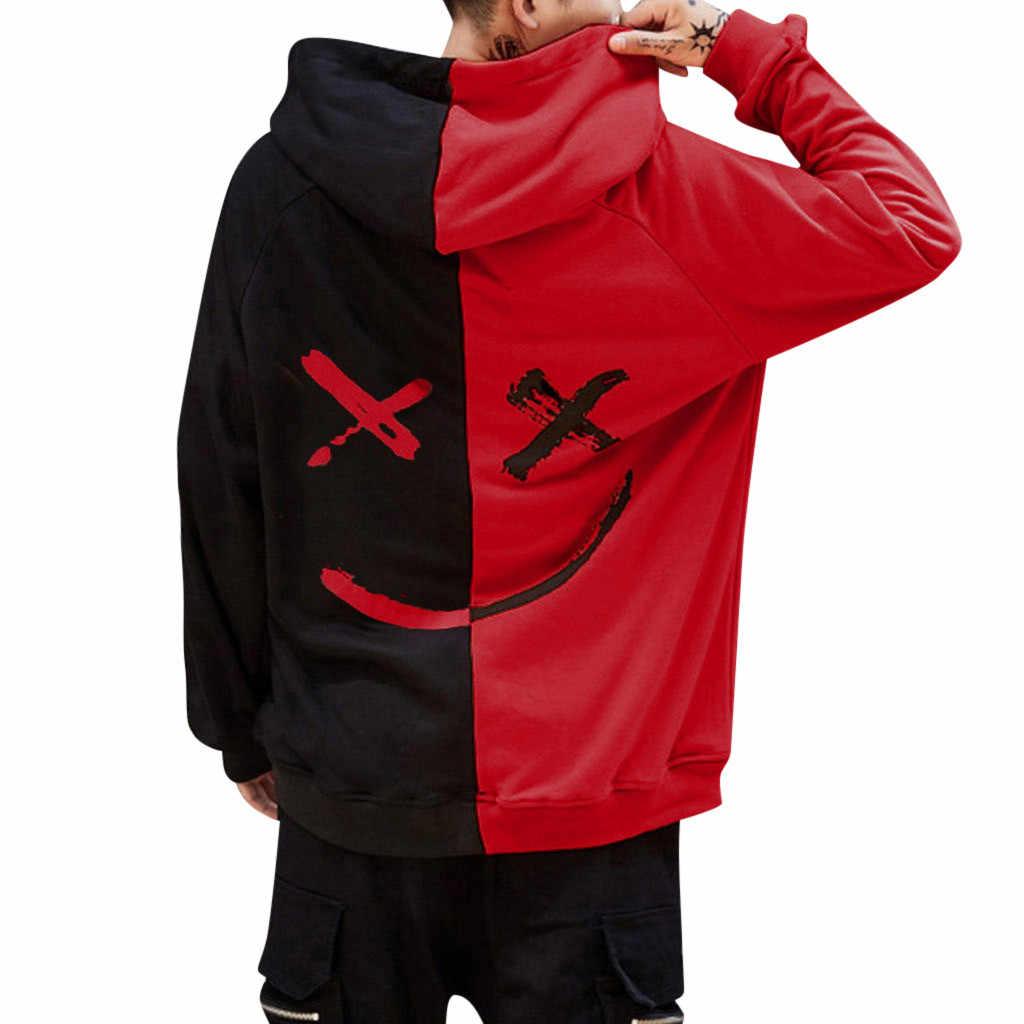 CHAMSGEND Erkekler moda renk eşleştirme gülen uzun kollu kapüşonlu süveter gevşek gündelik spor giyim spor eğitimi gömlek çift için