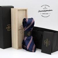 גברים עניבת צוואר משי חדש כלה רזה עניבה זכר סקיני mariage kravat גנט פסים מעצב neckwear הבעל מתנות עם צמר תיבת