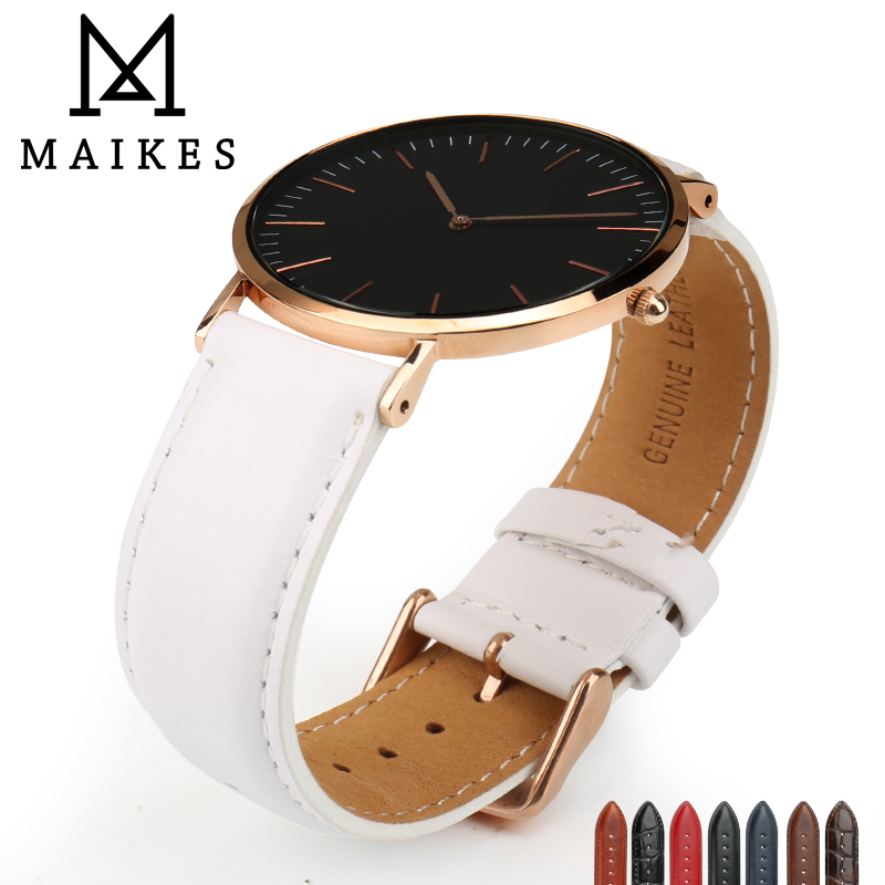 c725bb652fb MAIKES Watch Accessories Genuine Cow Leather Watch Strap For Daniel  Wellington Rose Gold   Silver Clasp