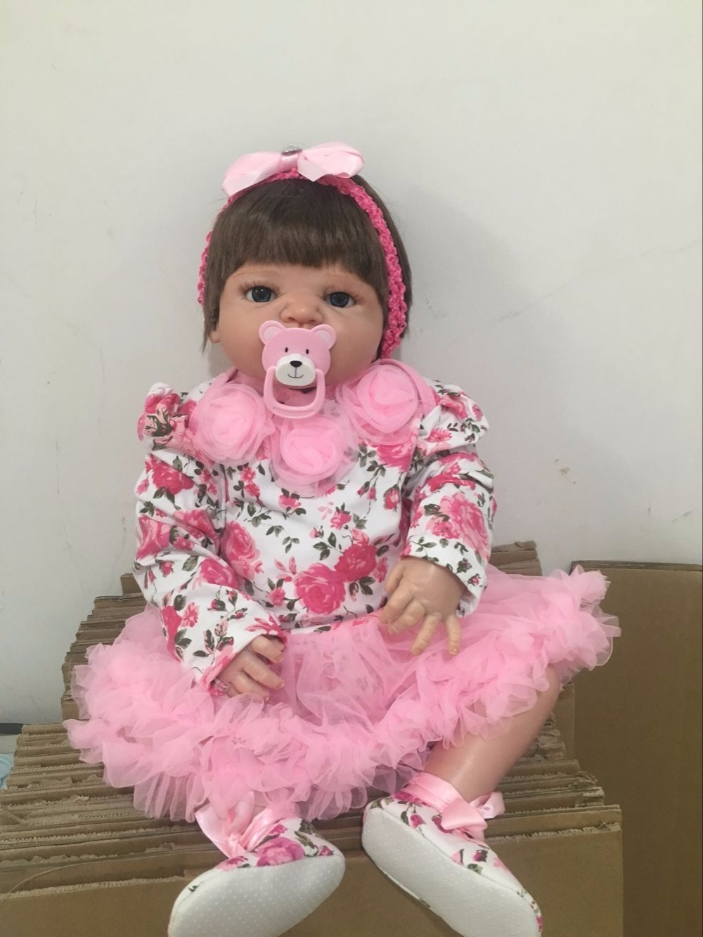 55cm Full Body Silicone Reborn Baby Doll Toys 22 Lifelike Newborn Girl Babies Dolls Gift Birthday Gift Bathe Toy full silicone body reborn baby doll toys lifelike 55cm newborn boy babies dolls for kids fashion birthday present bathe toy