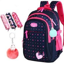 2020 New Girls School Bags Elementary Backpack Stars Print Children Student Bag Cute Bow knot Kids Bookbags Mochila Escolar