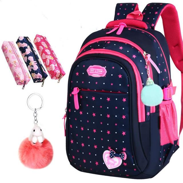 2020 חדש בנות תיקי בית ספר יסודי תרמיל כוכבים הדפסת ילדי תלמיד תיק חמוד bow קשר ילדי Bookbags המוצ ילה Escolar