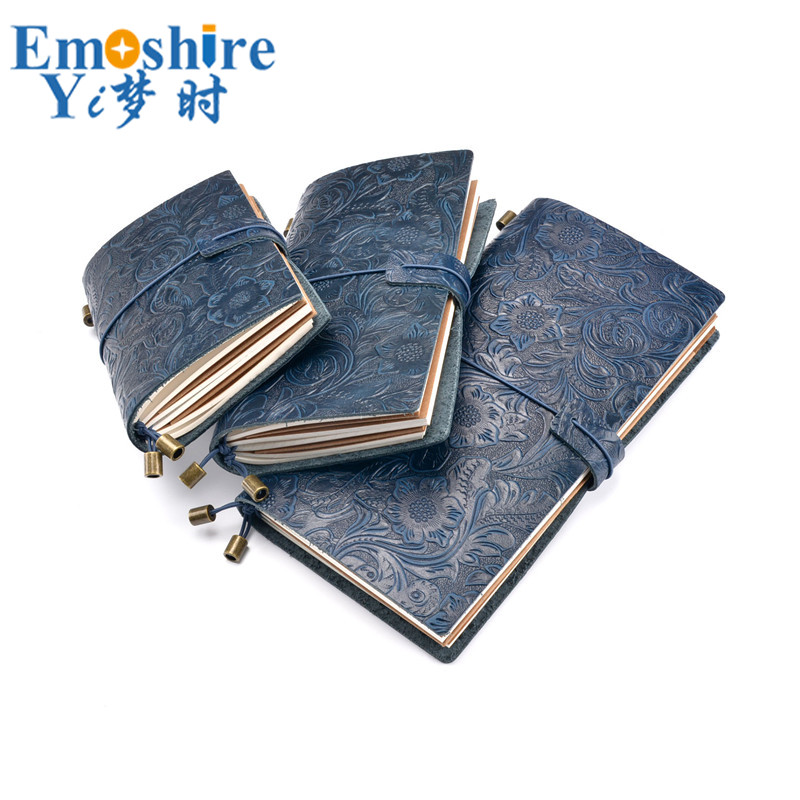 New Memo Pad 100% Genuine Travel Notebook Retro Carved Leather Notebook Handmade Loose-leaf First Layer Leather Notebook N144 first layer leather travel notepad retro leather notebook loose leaf diary with lock customized logo business gifts n131