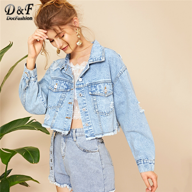 Dotfashion Blue Ripped Frayed Edge Flakes Crop Denim Jacket Women 2019 Autumn Casual Single Breasted Clothing Autumn Solid Coat