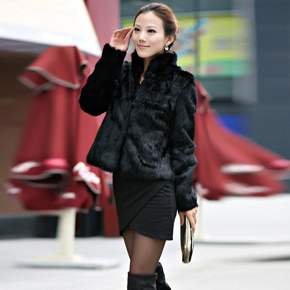 Lady Renard Hiver Chaud 2018 Femmes Manteau noir Mode Fausse Nouveau Court En Parka Survêtement Style Blanc Fourrure De Veste 0XP8NOknw