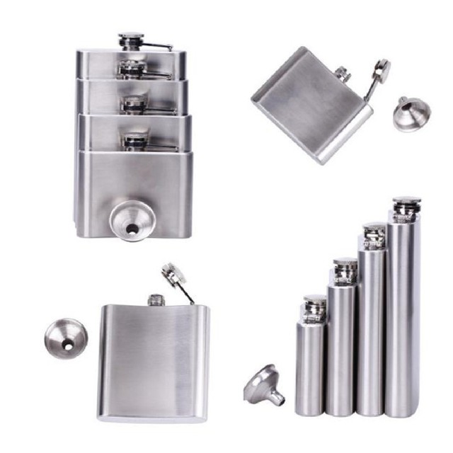 hot 4/5/6/7/8/10/18 oz Stainless Steel Hip Liquor Whiskey Alcohol Flask Cap + Funnel garrafa de bolso