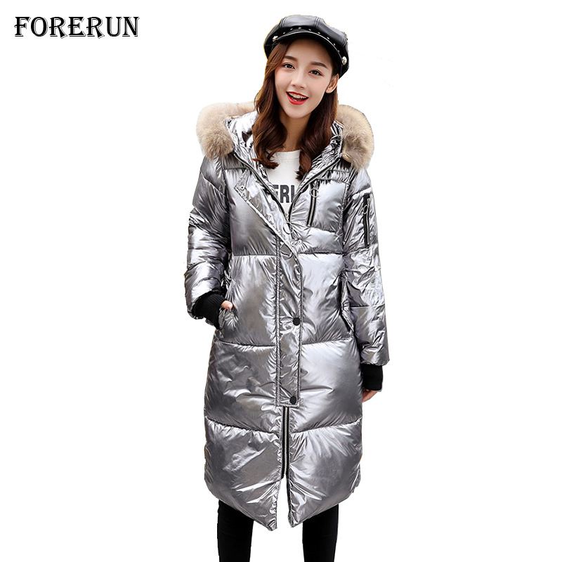 2019 Winter Coats Women Metallic Color Long Jacket Cotton Padded Warm Glossy Fur Collar Hooded Woman Parka Mujer Invierno
